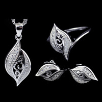 100% Pure S925 Sterling Silver Necklace Pendant Jewelry Sets,Wholesale Fashion S925 Sterling Silver Jewelry Earrings and Rings