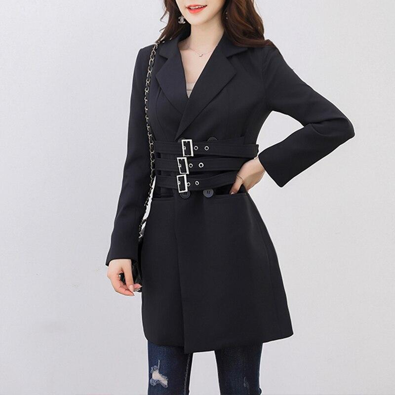 Весенний Повседневный Женский блейзер с отворотами длинный рукав двубортный бандаж пояса тонкий черный женский пиджак 2019 модная одежда