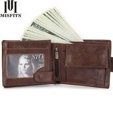 MISFITS markowy portfel męski ze skóry naturalnej krótki portfel na monety moda portfel z zatrzaskiem dla mężczyzn Portomonee z uchwytem na kartę ramka na fotografię