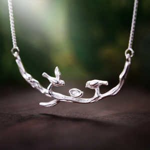 Image 2 - Lotus Fun Real 925 Sterling Silver Handmade Fine Jewelry Bird on Branches Necklace with Pendant Acessorios for Women Collier