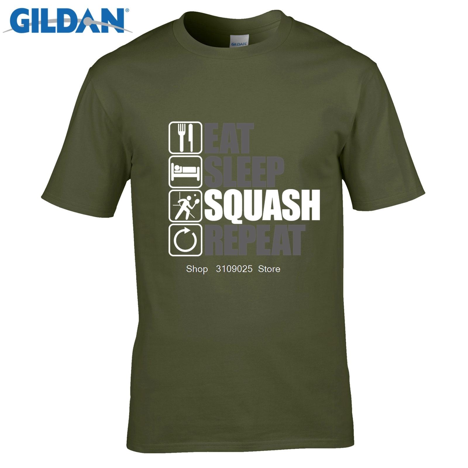 GILDAN men fashion brand t shirtEat Sleep Squash Repeat, Mens Funny, Sporting T Shirt, Birthday Gift Dad