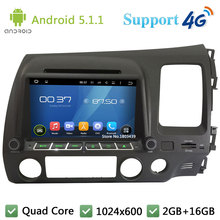 Quad Core 1024*600 Android 5.1.1 Car Multimedia DVD Player Radio 3G/4G WIFI GPS Map For Honda CIVIC Right Hand Driving 2006-2011
