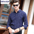 PORT&LOTUS Men's Shirts Brand Clothing Print Casual Mens Shirt Thin Long Sleeves Shirt Men Plus Size Shirts YT017 83221