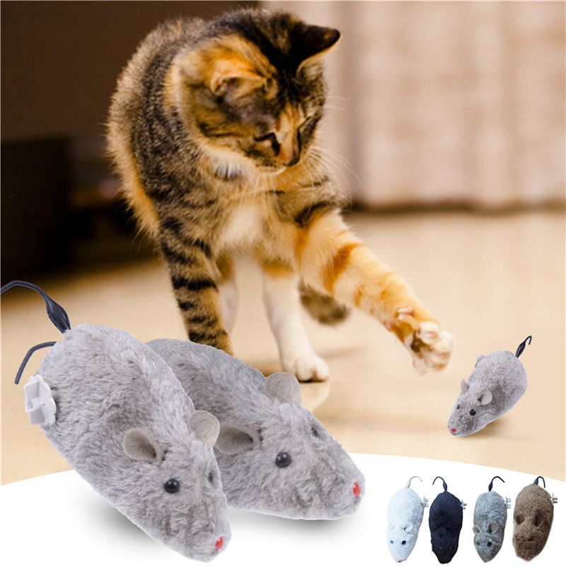 Hot Clockwork Mouse Toy for Cat Dog Pet Animals Cute Plush Rat mechanical Motion Rats For Pets Kitten Kids Toy
