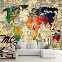 Free Shipping 3D Stereo Wallpaper Retro World Map Classical TV Sofa Background Wall Wallpaper Custom Lobby