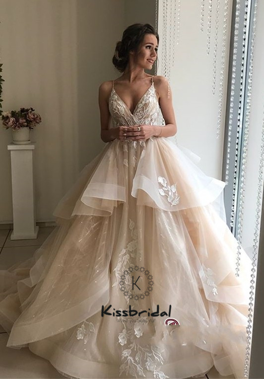 New Style Wedding Dress: New Style Organza Wedding Dress 2019 Spaghetti Strap V
