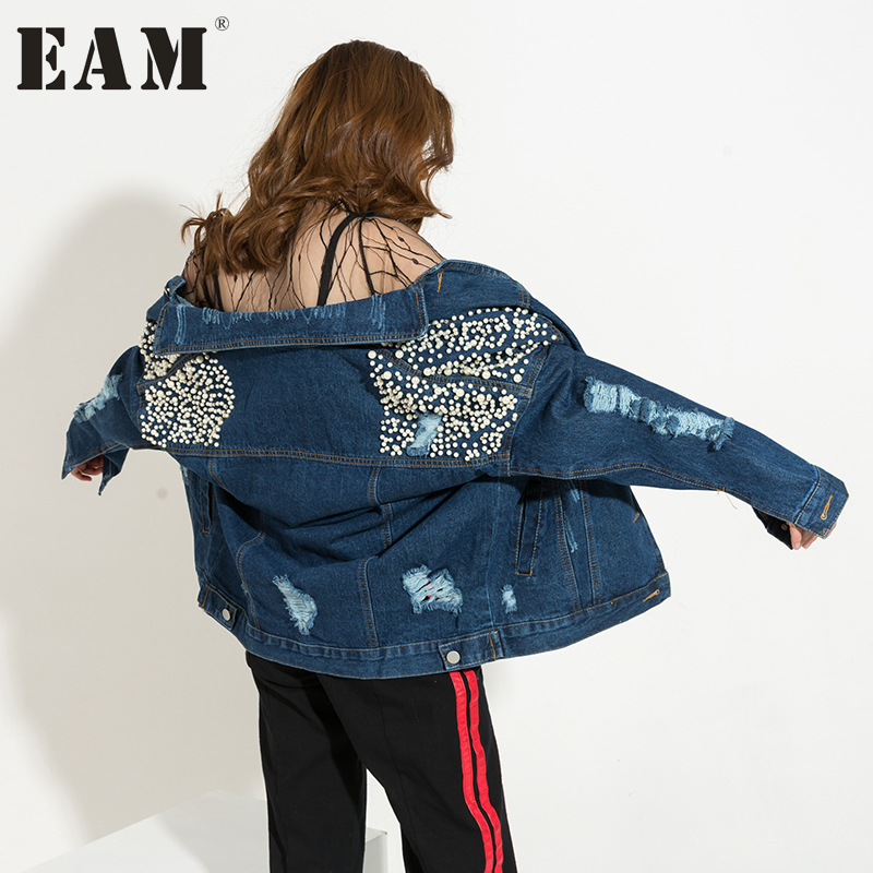 [EAM] 2018 Autumn New Fashion Turn-down Collar Long Sleeve Blue Cool Denim Nailed Holes Loose Jacket Women Coat Tide HAA805