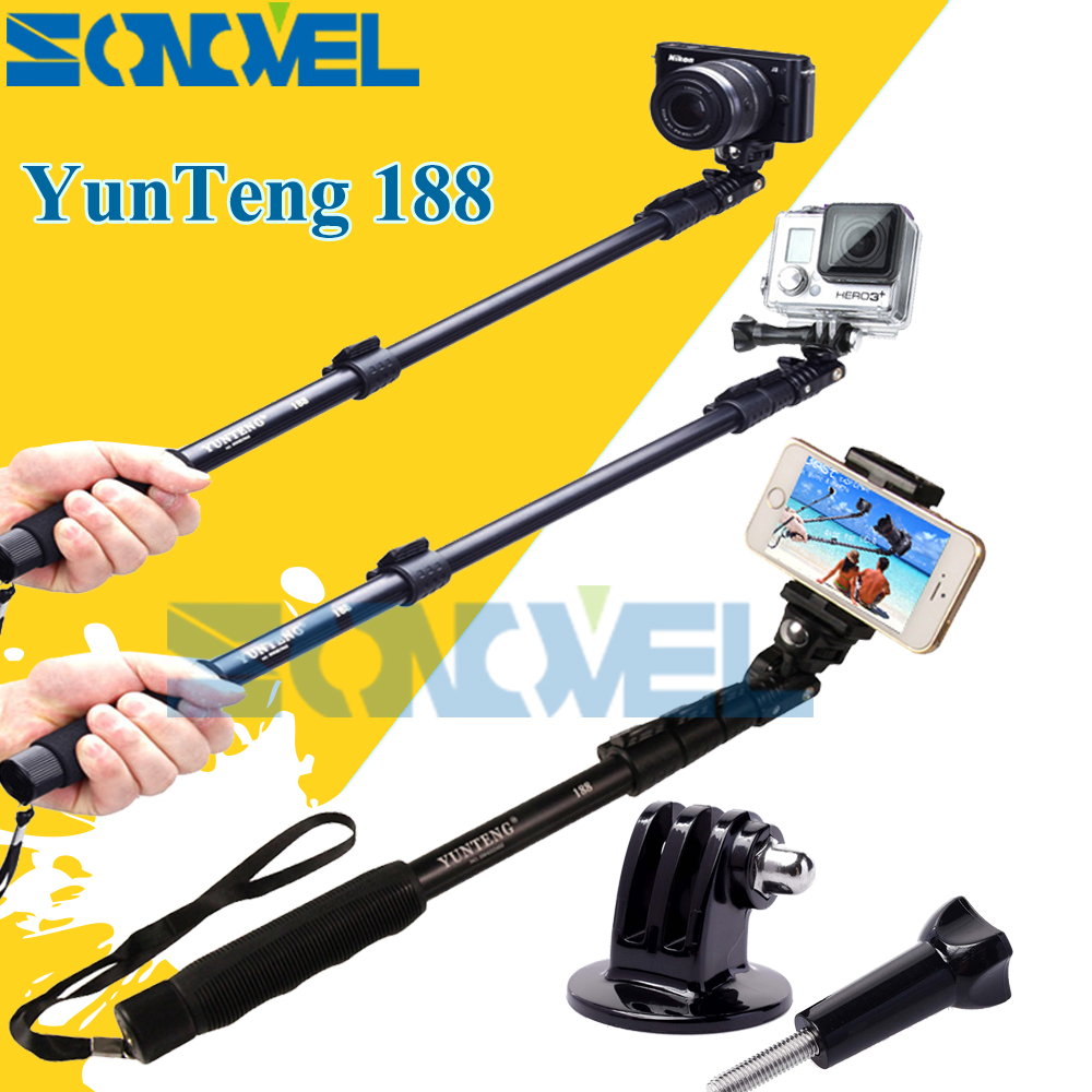 Yunteng 188 Selfie Bâton Monopode Extensible Télescopique De Poche Pôle Pour Xiaomi yi GoPro Hero 2 3 3 + 4 Sj4000 Sj5000 Sj6000