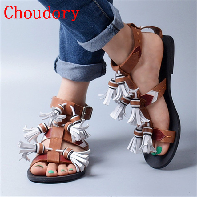33689d0b41945 US $186.87 |Choudory Summer Brown Genuine Leather Sandals Fringed Women  Flip Flops Casual Flat Shoes Strappy Beach Flats Sandalias Mujer-in Women's  ...