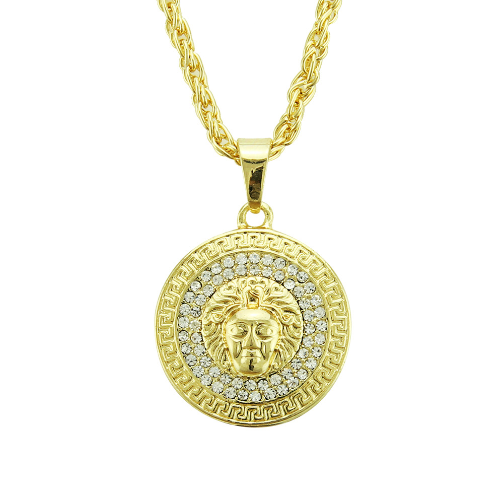 Exaggerated Trumpet Beauty Head Pendant Necklace European And American Hip-hop Pendant Necklace Factory Spot Direct Sale