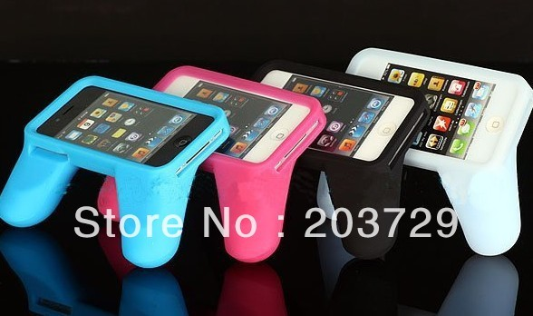 Free shipping dhl ems Silicone Handle Control Game Handle Grips Silicone Case For IPhone 4 4s Case 200pcs/lot