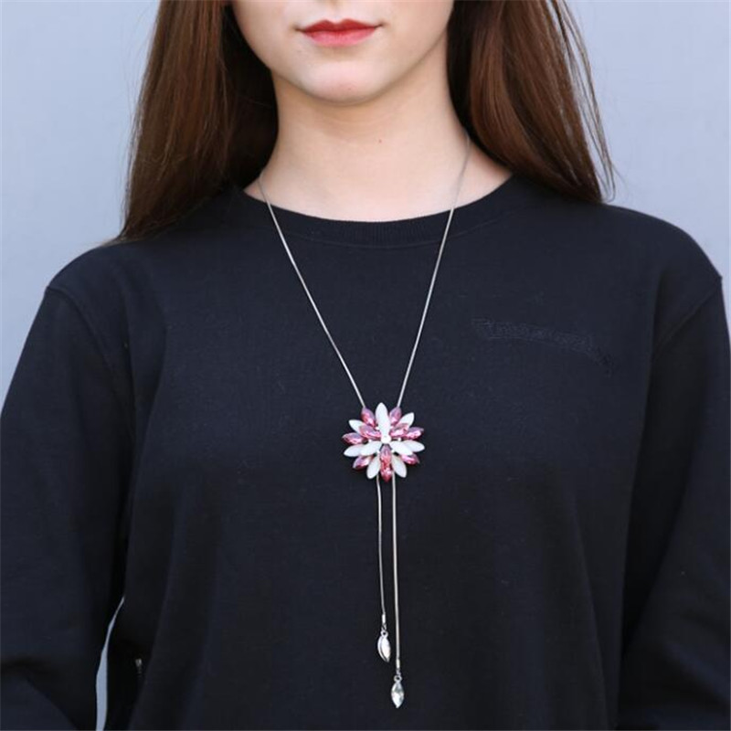 BYSPT-Pink-Snowflake-Long-Necklace-Sweater-Chain-Fashion-Fine-Metal-Chain-Crystal-Rhinestone-Flower-Pendant-Necklaces