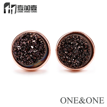 Factory Price Round 8mm Coffee Natural Druzy Drusy new design Stud earrings