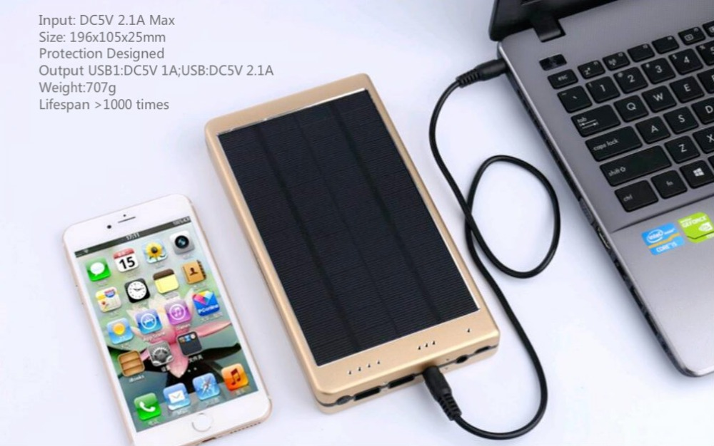 High Quality Solar Power Bank External Battery Power bank Charger 20000mAh for Smart Mobile Phones 100w 12v monocrystalline solar panel for 12v battery rv boat car home solar power