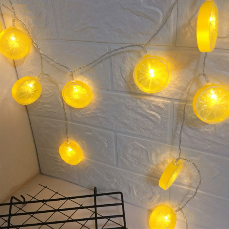 Lemon Shape Holiday String Lights LED Christmas Party Baby Bedroom Decoration Light Battery Box Outdoor Lights