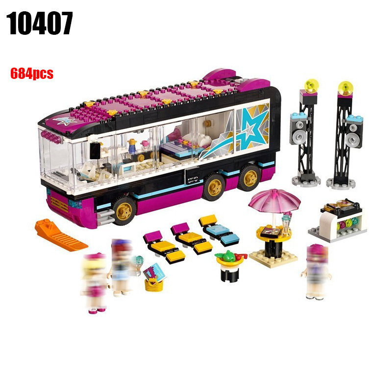 10407 Compatible with Friends 41106 684pcs Pop Star Tour Bus Figure building blocks DIY Bricks toys for children gonlei 10407 friends pop star tour bus building blocks sets bricks toys girl game house gift compatible with