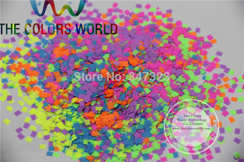 QN25-82 Neon Color Square shape Glitter Mix confetti for nail art and Other DIY decoration 1Pack =50g hr25 148 mix 2 5 mm pastel matt pearlescent colors heart shape glitter for nail art and diy supplies1pack 50g