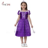 MUABABY Princess Summer Dresses Little Girls Rapunzel Cosplay Costume Children Halloween Birthday Party Fantasy Tutu Dresses