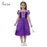 MUABABY Princess Summer Dresses Little Girls Rapunzel Cosplay Costume Children Halloween Birthday Party Fantasy Tutu Dresses
