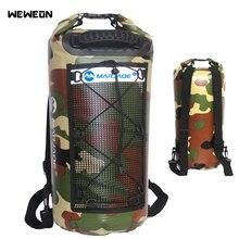 25L Waterproof Swimming Bags Mesh Storage Dry Sack Bag For River trekking Rafting Outdoor Camouflage Backpack Kit Pack