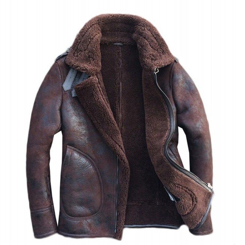 خمر الطبيعي Shearling رجل رحلة الجيش طيار سترة جلد الغنم الحقيقي الحقيقي الفراء بطانة الشتاء العسكرية أبلى معطف-في معاطف جلد طبيعي من ملابس الرجال على  مجموعة 1