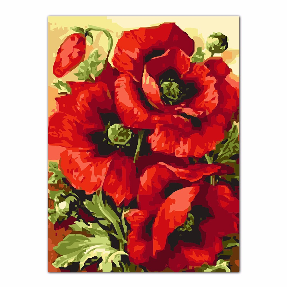 Online Shop Diy Beautiful Red Poppy Flower Oil Painting By Numbers
