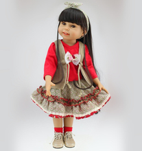 High Quality 18 inch Fashion Full Vinyl American Girl Doll Washable and Bathed Toy Doll Ethnic Dress up Girl Dolls