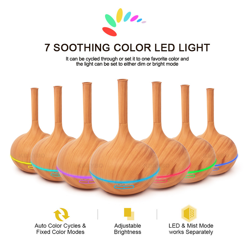 400ml Aroma Essential Oil Diffuser Wood Grain Ultrasonic Cool Mist Humidifier For Office Home Bedroom Living