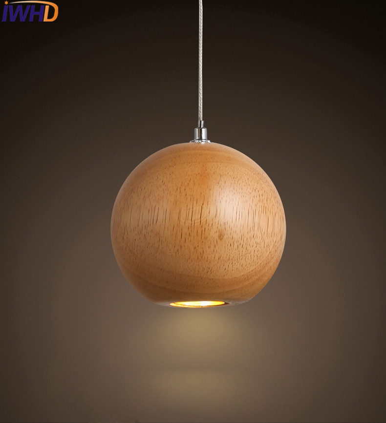 IWHD Wood ball Modern Pendant Light Led Brief Bedroom HangLamp Home Lighting Fixtures Suspension Luminaire Dining Lamparas iwhd glass led pendant lights modern brief wood hanging lamp edison bulb light fixtures suspension luminaire home lighting