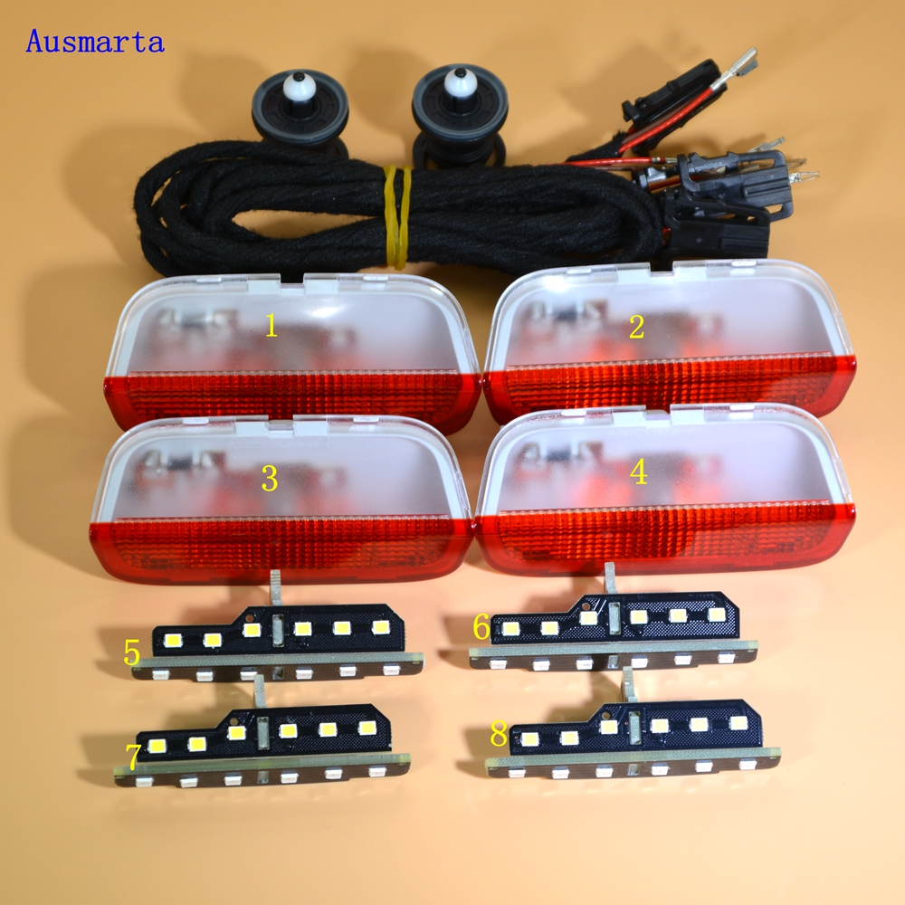 8X OEM CAR PARTS Door Warning Lights interior LAMPLIGHT+LED The vehicle door For VW Golf Jetta MK5 6 Passat B6 7 CC 3AD 947 411 oem extension cable for volkswagen door warning light extension cable harness wire for vw golf jetta mk5 mk6 v vi passat b6 50cm