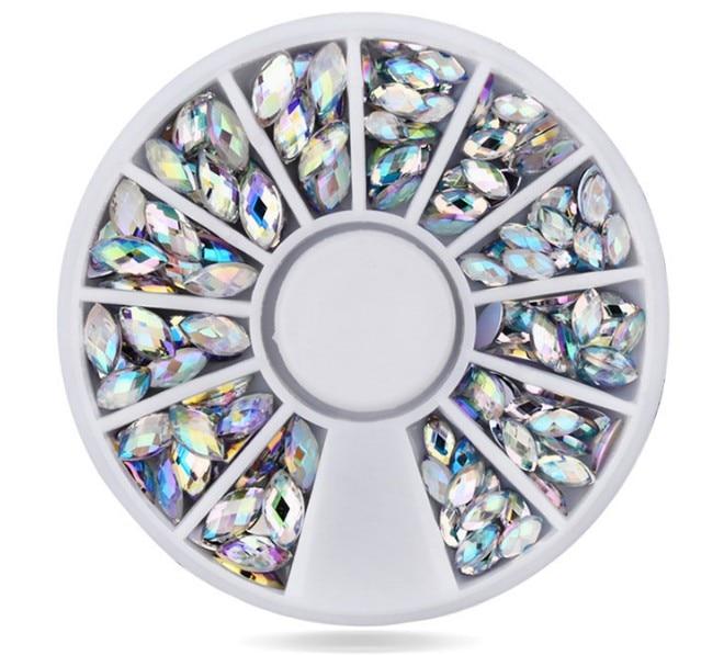 Caixa de Fundo Plano Tamanho Misto AB 1 3D Nail Art Pedrinhas Cristal Glitter Unhas Decorações De Roda Para DIY Studs, frete Grátis