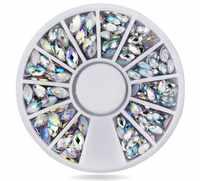 1 Box Flachen Boden Gemischt Größe AB 3D Nail art Strass Kristall Glitter Nägel Rad Dekorationen Für DIY Studs, freies Verschiffen