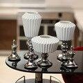 Nova listagem minimalista e moderno Europeu-estilo decorações casa ornamentos de prata banhado a cerâmica três-piece