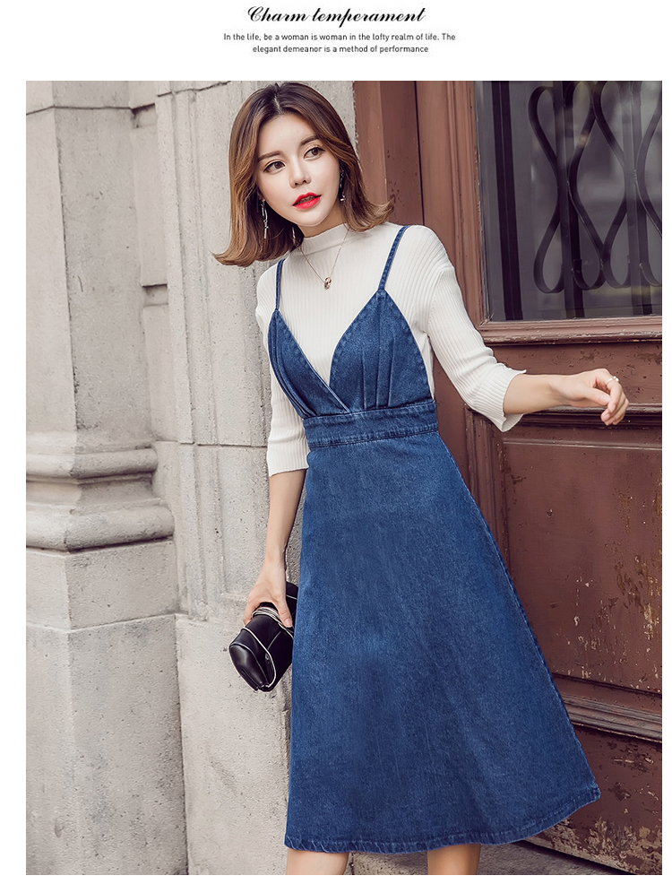 HTB13IYIfhTI8KJjSspiq6zM4FXaI - HziriP 2018 New Arrival Women Denim Dress Fashion Casual Ankle-Length desses for Ladies Spaghetti Strap Bodycon Vestido Female