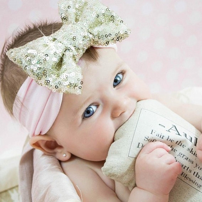 2017 Photography Baby Sequin Bow Headband Baby Girl Big