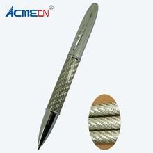 цена Free shipping Classical Twist Action Silver Carbon Fiber Ball Pen онлайн в 2017 году