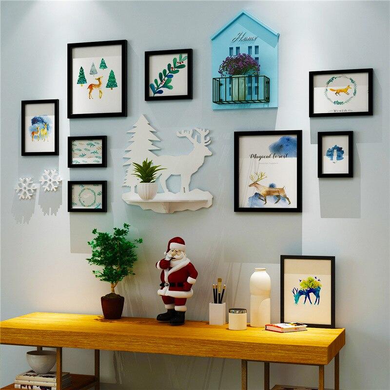 BAIUFOR Kerst Thuis Fotolijst Muur Decor, frame Set Creatieve Combinatie Muur Foto Multi Frame Set Met Huis Plank - 3