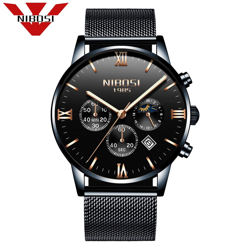NIBOSI New Top Luxury Watch Men Brand Mens Watches Ultra Thin Stainless Steel Mesh Band Quartz Wristwatch Fashion Casual Watches badace new top luxury watch men gold men s watches ultra thin stainless steel mesh band quartz wristwatch business casual watch