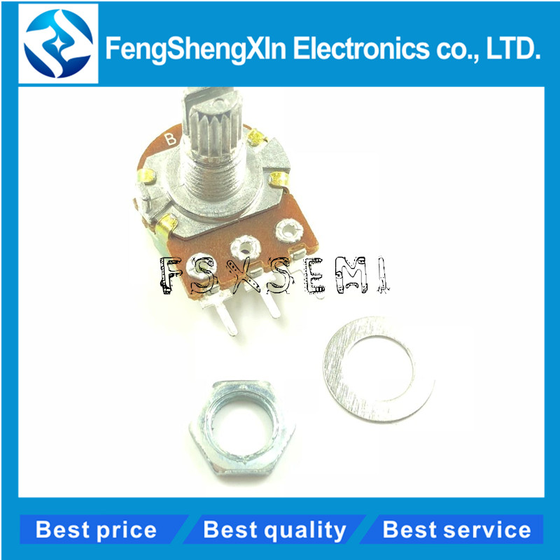 100pcs/lot WH148 Linear Potentiometer 15mm Shaft With Nuts And Washers 3pin WH148 B1K B2K B5K B10K B20K B50K B100K B250K