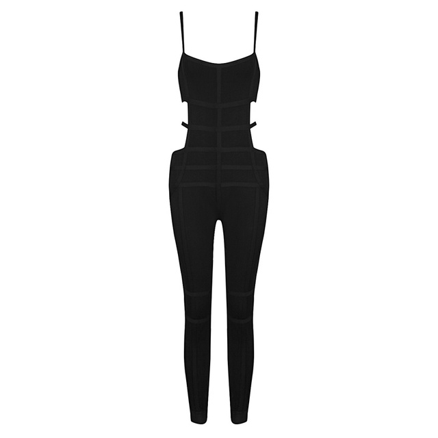 Envío Gratis 2016 Nuevo Estilo de Moda de Verano Las Mujeres de Los Mamelucos Sexy HL Negro Vendaje Jumpsuit