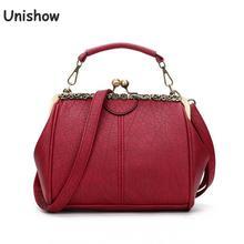 Unishow clip lock bolsas de ombro das mulheres do vintage couro do plutônio das senhoras bolsa tote feminina marca designer pequeno saco do mensageiro