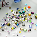 10 g/pack Super Brillante Diy Mezclado Multicolor Nail Art Decoración Mix Tamaño Espaldas Planas de Cristal Facetado Rhinestone