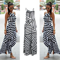 De las mujeres long summer dress 2017 sexy casual estampado geométrico boho largo maxi beach dress vestido de tirantes del partido de tarde de bodycon dress