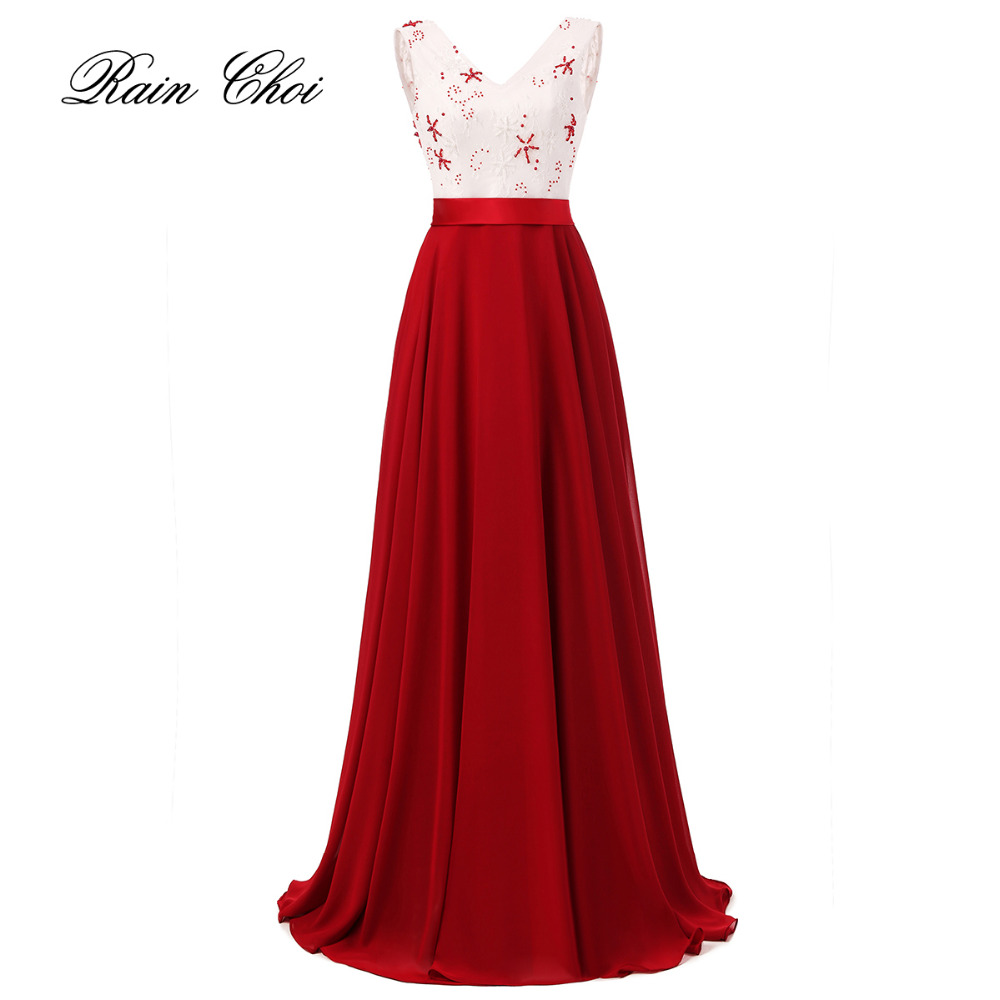 Chiffon Long Prom Dresses 2019 V Neck A Line Floor Length Women Party Dresses
