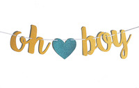 Oh boy Oh Girl Glitter Banner Bunting Garland Baby Shower Gender Reveal Birthday Party Decoration