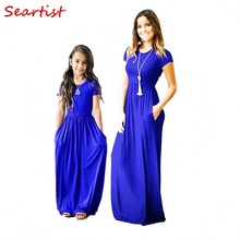 Seartist Mother and Daughter Summer Dress Girls Mom Bohemian Beachwear Short-sleeved Solid Party 2019 New 40C