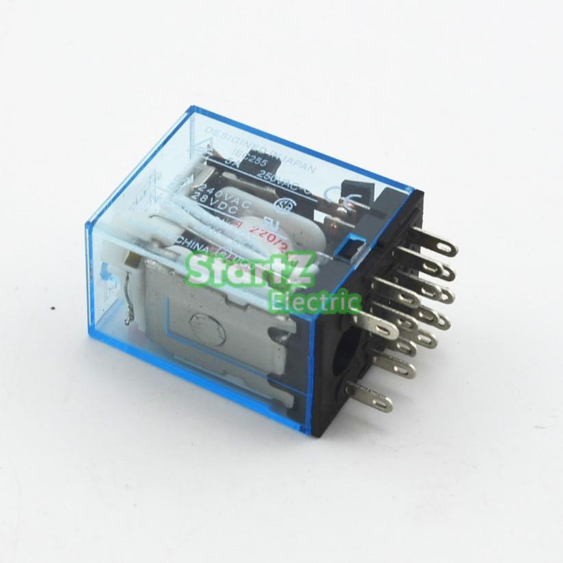 10Pcs Relay  MY4NJ  110 AC Small relay 5A 14PIN Coil DPDT With Socket