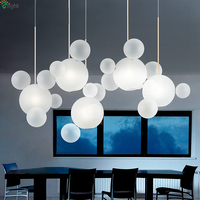 Modern Mickey Led Chandeliers Lighting Dining Room Frosted Glass Bubbles Led Chandelier Living Room Copper Metal Hanging Lights