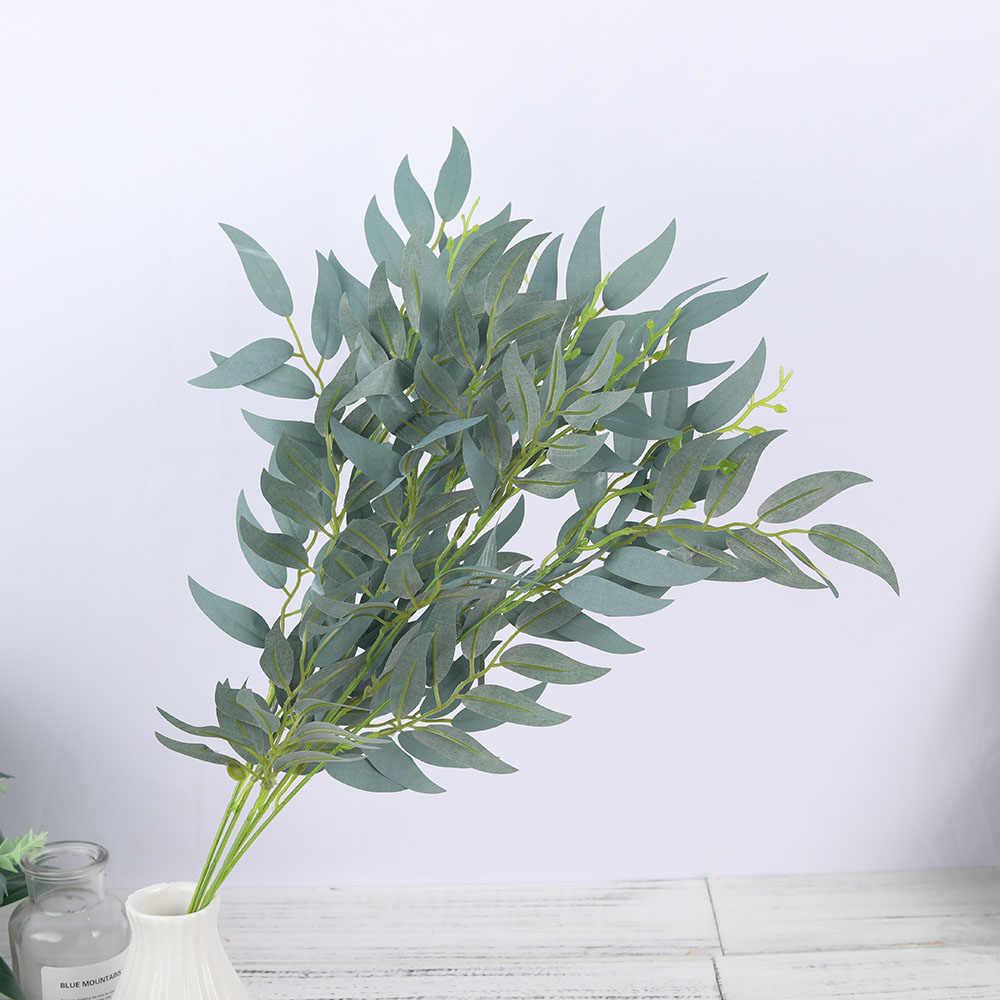 الحرير الاصطناعي الصفصاف يترك فرع طويل الأخضر النباتات وهمية الربيع لوازم ديكورات زفاف للمنزل ترتيب اكسسوارات فو أوراق الشجر