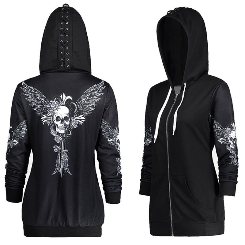 Autumn Punk Women Skull Wings Print Halloween Zip Up Hoodie Long Sleeve Spring Sweatshirt Coat Cool Hoodie Sudaderas Mujer DG245
